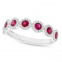 0.26ct Diamond & 0.70ct Ruby 14k White Gold Lady's Ring