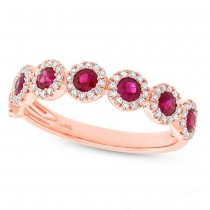 0.26ct Diamond & 0.70ct Ruby 14k Rose Gold Lady's Ring