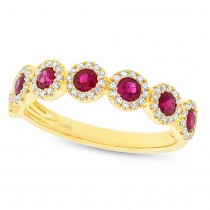 0.26ct Diamond & 0.70ct Ruby 14k Yellow Gold Lady's Ring
