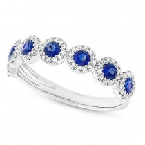 0.26ct Diamond & 0.70ct Blue Sapphire 14k White Gold Lady's Ring