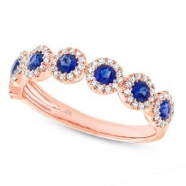 0.26ct Diamond & 0.70ct Blue Sapphire 14k Rose Gold Lady's Ring