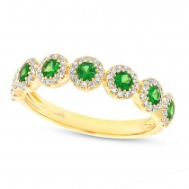 0.26ct Diamond & 0.65ct Green Garnet 14k Yellow Gold Lady's Ring