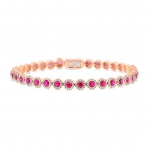 1.28ct Diamond & 3.65ct Ruby 14k Rose Gold Bracelet