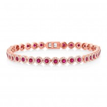 1.22ct Diamond & 2.03ct Ruby 14k Rose Gold Lady's Bracelet