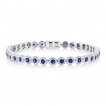 1.22ct Diamond & 2.44ct Blue Sapphire 14k White Gold Lady's Bracelet