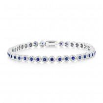 1.08ct Diamond & 1.25ct Blue Sapphire 14k White Gold Lady's Bracelet
