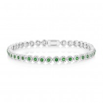 1.08ct Diamond & 1.48ct Green Garnet 14k White Gold Lady's Bracelet