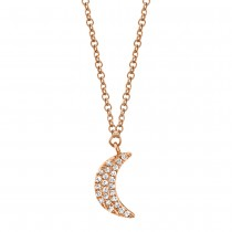 0.06ct 14k Rose Gold Crescent Moon Necklace