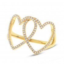 0.21ct 14k Yellow Gold Diamond Hearts Ring
