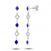0.11ct Diamond & 0.51ct Lapis 14k White Gold Earrings