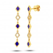 0.11ct Diamond & 0.51ct Lapis 14k Yellow Gold Earrings