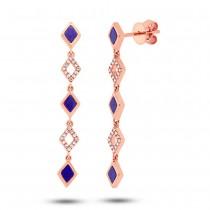 0.11ct Diamond & 0.51ct Lapis 14k Rose Gold Earrings