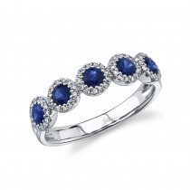 0.20ct Diamond & 0.70ct Blue Sapphire 14k White Gold Ring