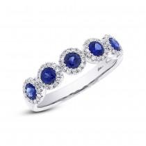 0.20ct Diamond & 0.70ct Blue Sapphire 14k White Gold Ring Size 6