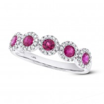 0.20ct Diamond & 0.66ct Ruby 14k White Gold Ring