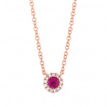 0.04ct Diamond & 0.14ct Ruby 14k Rose Gold Diamond Necklace