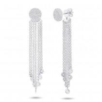 0.51ct 14k White Gold Diamond Pave Fringe Jacket Earrings