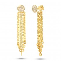 0.51ct 14k Yellow Gold Diamond Pave Fringe Jacket Earrings
