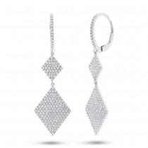 0.91ct 14k White Gold Diamond Pave Earrings