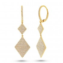 0.91ct 14k Yellow Gold Diamond Pave Earrings