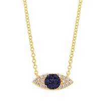 0.07ct Diamond & 0.11ct Blue Sapphire 14k Yellow Gold Eye Necklace