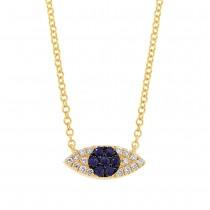0.07ct Diamond & 0.11ct Blue Sapphire 14k Yellow Gold Eye Necklace