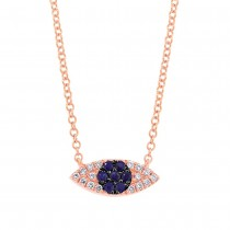 0.07ct Diamond & 0.11ct Blue Sapphire 14k Rose Gold Eye Necklace