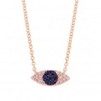 0.07ct Diamond & 0.11ct Blue Sapphire 14k Rose Gold Eye Necklace