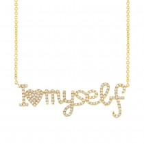 0.36ct 14k Yellow Gold Diamond ''I love myself'' Necklace
