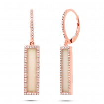 0.36ct Diamond & 1.62ct Pink Opal 14k Rose Gold Bar Earrings