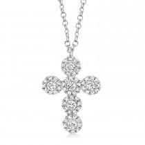 0.25ct 14k White Gold Diamond Cross Necklace