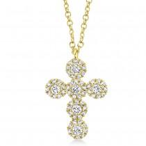 0.25ct 14k Yellow Gold Diamond Cross Necklace