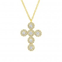0.44ct 14k Yellow Gold Diamond Cross Necklace