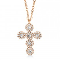 0.25ct 14k Rose Gold Diamond Cross Necklace