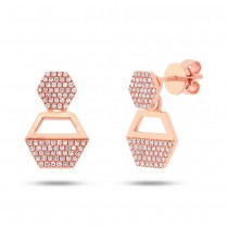 0.31ct 14k Rose Gold Diamond Hexagon Earrings Jacket With Studs