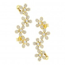 0.68ct 14k Yellow Gold Flower Diamond Ear Crawler Earrings