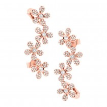 0.68ct 14k Rose Gold Flower Diamond Ear Crawler Earrings
