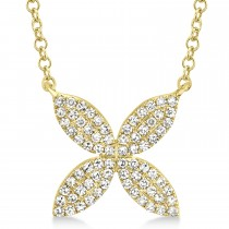 0.20ct 14k Yellow Gold Diamond Flower Necklace