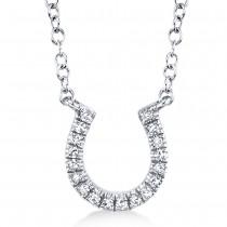 0.06ct 14k White Gold Diamond Horseshoe Necklace