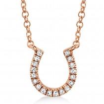 0.06ct 14k Rose Gold Diamond Horseshoe Necklace