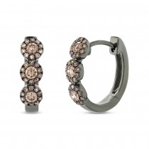 0.43ct 14k Black Rhodium Gold Champagne Diamond Huggie Earrings
