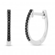 0.08ct 14k White Gold Black Diamond Huggie Earrings