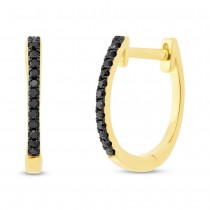 0.08ct 14k Yellow Gold Black Diamond Huggie Earrings