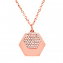 0.14ct 14k Rose Gold Diamond Hexagon Necklace