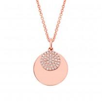 0.09ct 14k Rose Gold Diamond Circle Necklace