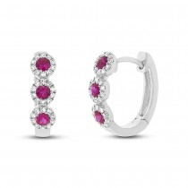 0.15ct Diamond & 0.29ct Ruby 14k White Gold Huggie Earrings