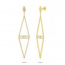 1.19ct 14k Yellow Gold Diamond Triangle Earrings
