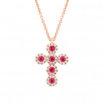 0.12ct Diamond & 0.14ct Ruby 14k Rose Gold Cross Necklace