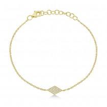 0.06ct 14k Yellow Gold Diamond Pave Diamond Bracelet