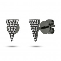 0.12ct 14k Black Rhodium Gold Diamond Pave Triangle Earrings